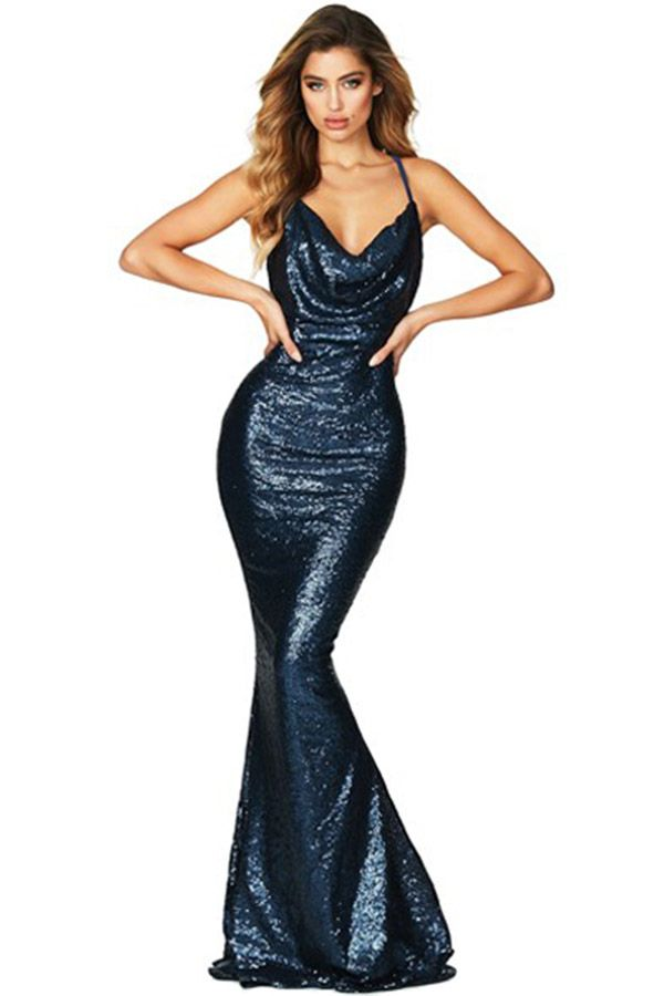 9a69f58996 Hualong Elegant Party Navy Mermaid Sequin Dress Hualong Elegant Party Navy  Mermaid Sequin Dress  prom  promdresses  mermaid  party  dancing  outfit   formal ...