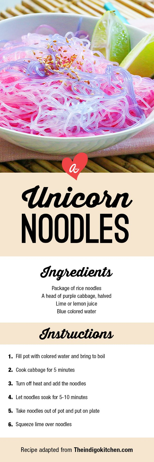 Make magic in the kitchen with these color-changing noodles! Color change noodles unicorn pink purple cabbage lime lemon