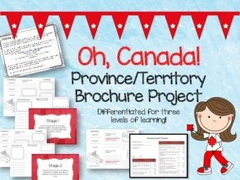 Differentiated Canadian province or territory travel brochure project - 3 levels of difficulty, rubric included