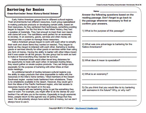 worksheet for 5th grade reading 5th Grade Reading