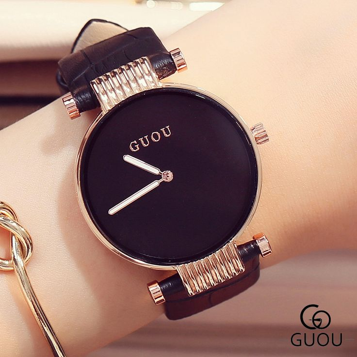 GUOU Luxury Watches Simple Fashion Watch Women Watches Leather Strap Quartz Watch Hour Clock relogio feminino reloj mujer 2016