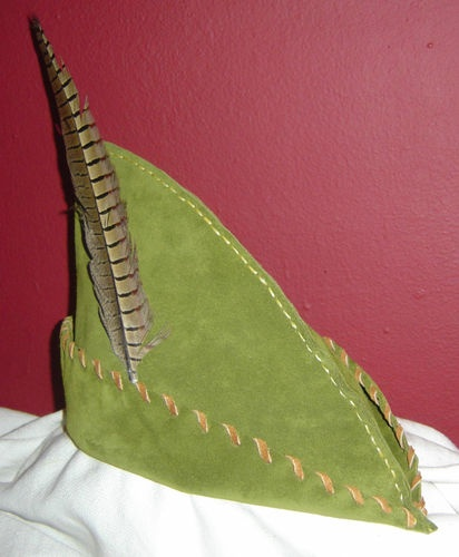 Leather Robin Hood Hat Peter Pan Archer Renaissance Medieval SCA Elf LARP  7a9540b4671