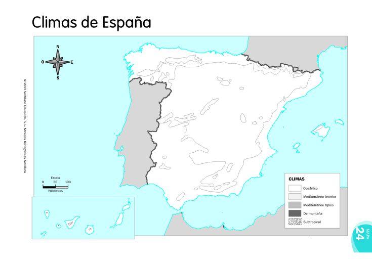 LOS CLIMAS DE ESPAÑA. MAPA MUDO