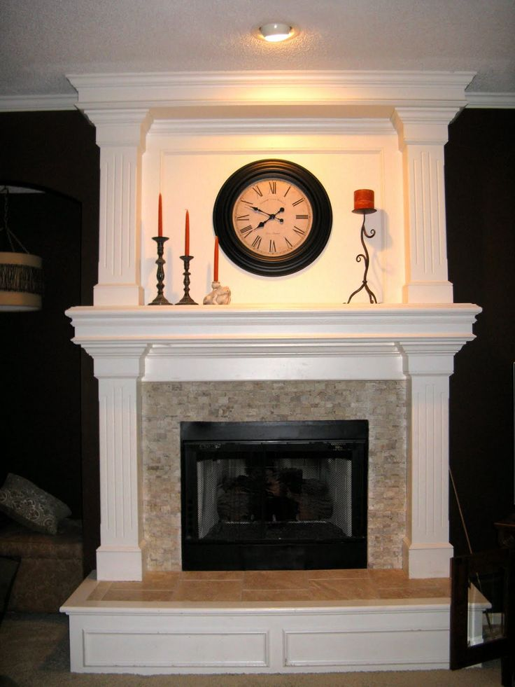 fireplace surround travertine mosaic similiar wood trim to exisiting built ins