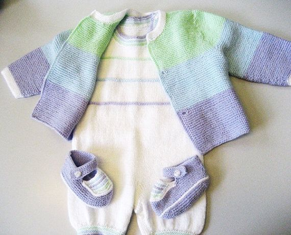 Hand knitted baby set  vest jumpsuit and by Svetlanababyknitting, $89.00