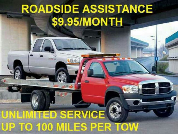 Unlimited 24/7 Emergency Roadside Assistance for $9.95/month. Up to 100 miles per tow to the destination of your choice. A flat bed tow truck to be sent to your location. All vehicles cars, truck, motorcycles, and RV's will be towed. Also includes flat tire change, gas delivery, jump start, lockout service MESSAGE ME FOR DETAIL