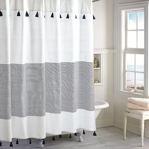 panama stripe shower curtain in 2019 bathroom blue shower rh pinterest com