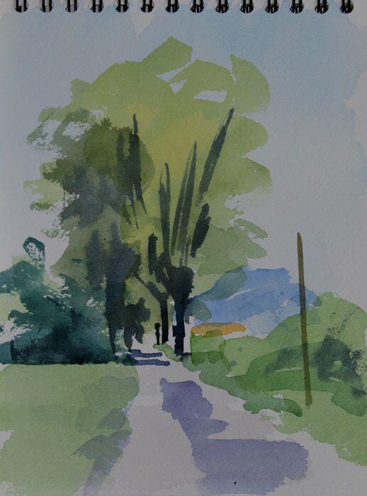 Plane trees, Pompignan.  Watercolour 10 x 7 ins.  Philip Richardson