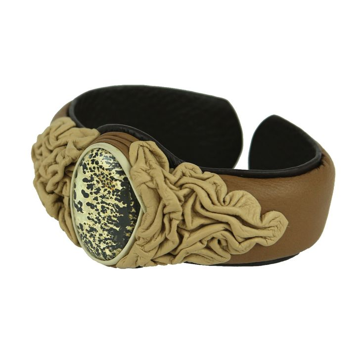 Adjustable Bracelet from genuine calf leather with beautiful piece of Petrified Wood #jewelry #bangle #SilkRoadEXPO http://silkroadexpo.com/