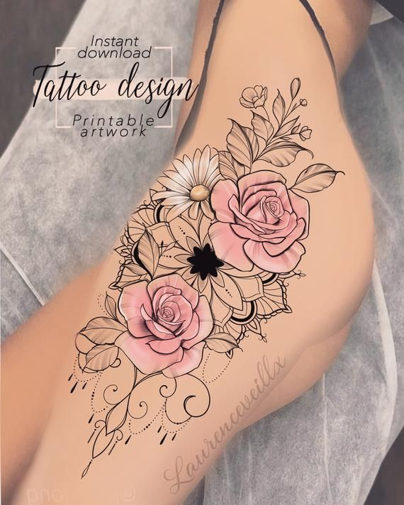 Tattoo Design Mandala Roses Daisy Flower Digital Female Floral Print Design Tattoo For Hip Or Back Thigh Unique Woman Tattoo Art Tattoo Designs Unique Tattoos For Women Daisy Tattoo Designs