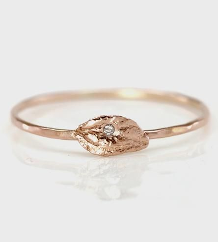 Diamond & Rose Gold Leaf Ring | Treat your index finger and well, yourself with this handcarve... | Rings