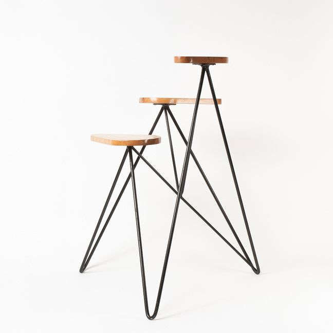 Anonymous; Enameled Metal and Wood Plant Stand, 1960s.