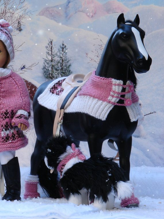 OOAK hand knitted winter set fits American Girl Doll Horse ...