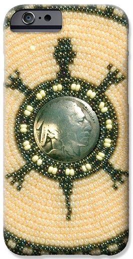 Turtle with Indian Head nickle center - A beaded cell phone case (FineArtAmerica.com)