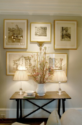 gold frames: Interior, Decor Ideas, Gold Frames, Living Room, Gallery Wall, Console Tables, Gray Wall, Entryway