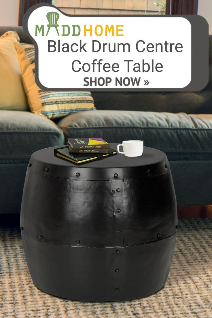 Showcasing a textured Black metallic finish, this iron - crafted coffee table blends modern elegance with versatile functionality. Its drum shape draws in the eye, creating an arresting accent that enhances the look of your décor.