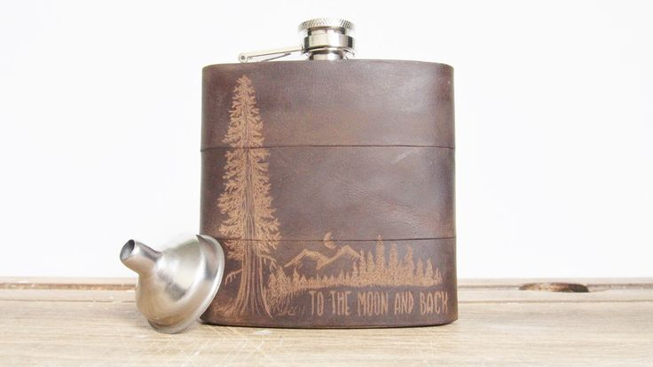 Mountain Man Leather Flask - At Night, Personalized initials, Red Wood Tree, moon -  olive leather, wedding hip flasks by HORD on Etsy https://www.etsy.com/listing/211808330/mountain-man-leather-flask-at-night