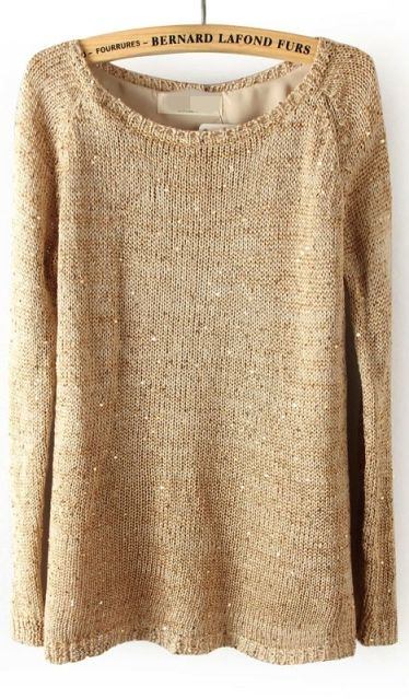 Gold sequined knitted sweater