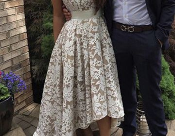 Elegant round neck lace prom dress for teens, cute homecoming evening dress, modest prom dress longWant a glamorous red carpet look for a fraction of the price? This exquisite dress would be perfect a..