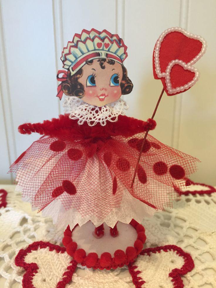 Vintage Style Bump Chenille Valentine Figure Visit Etsy Shop https://www.etsy.com/shop/artzeeshell?ref=hdr_shop_menu