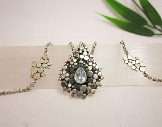 Artistic silver necklace with Aquamarine door KarenKleinEdelsmid