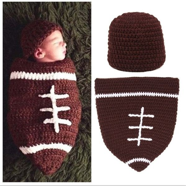 Set Infant Baby Handmade Wool Knit Crochet Football