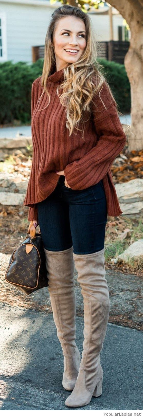 Nude boots, jeans and brown sweater