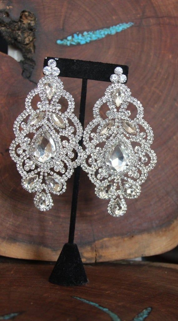 Statement Long Big Large Silver Crystal Diamante Rhinestone Bracelet Wedding