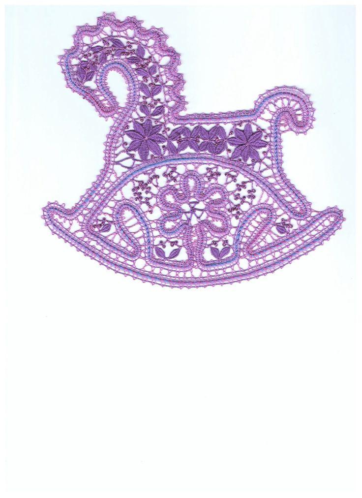Russian bobbin lace. A rocking horse pattern. #Russian #lace
