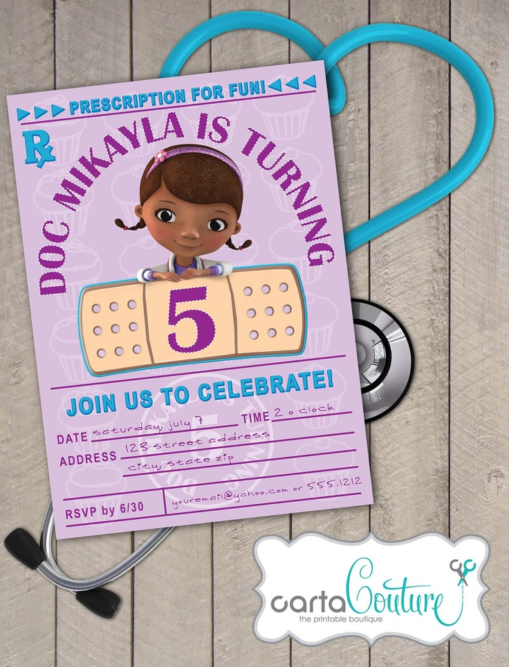handmadest birthday party invitations%0A Doc McStuffins Prescription DIY Printable Invitation by CartaCouture   Printable InvitationsParty InvitationsDoc Mcstuffins Birthday