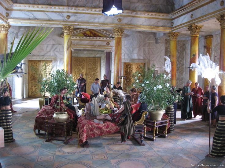 Filming Domitian's dinner party for The Enemies of Jupiter on the set of the Roman Mysteries season 1 at Boyana Studios, Tunisia in 2006