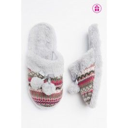Grey & pink knit slip on slippers