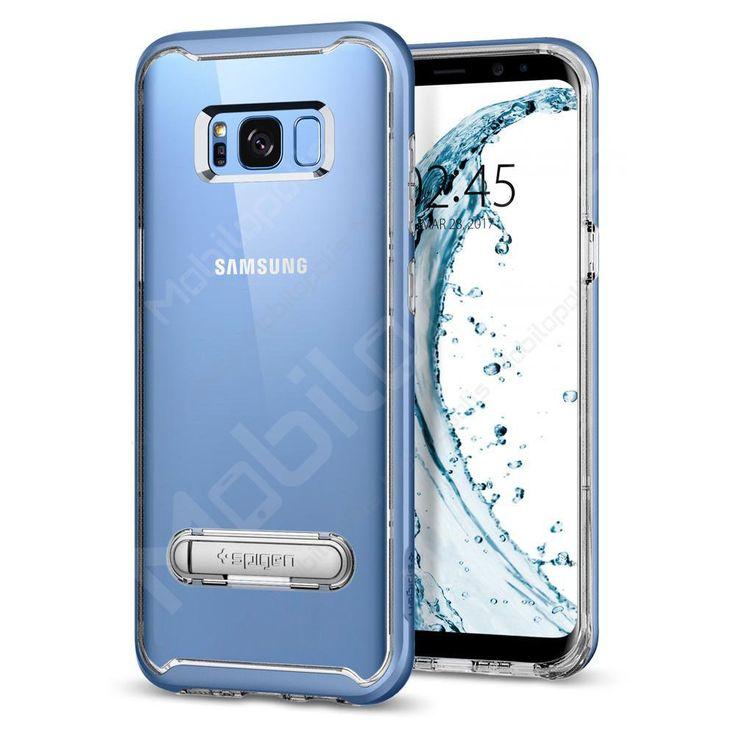 Průhledný kryt na Samsung Galaxy S8 se stojánkem Spigen Crystal Hybrid modrý | Mobilopolis.cz