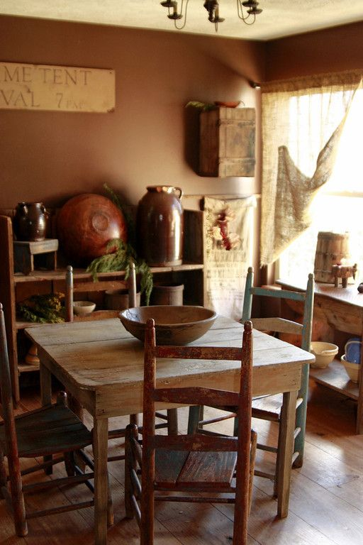17 best images about primitive dining room on pinterest for Primitive dining room furniture