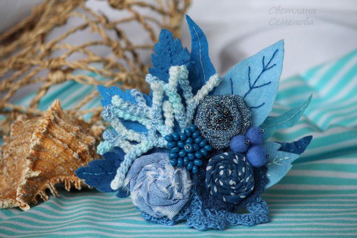Купить Брошь Букет Коралловый риф - голубой, модная стильная брошь, текстильная брошь букет