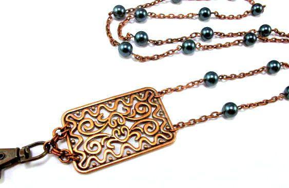 ID Badge Holder Lanyard Necklace Lanyard Pearl Lanyard