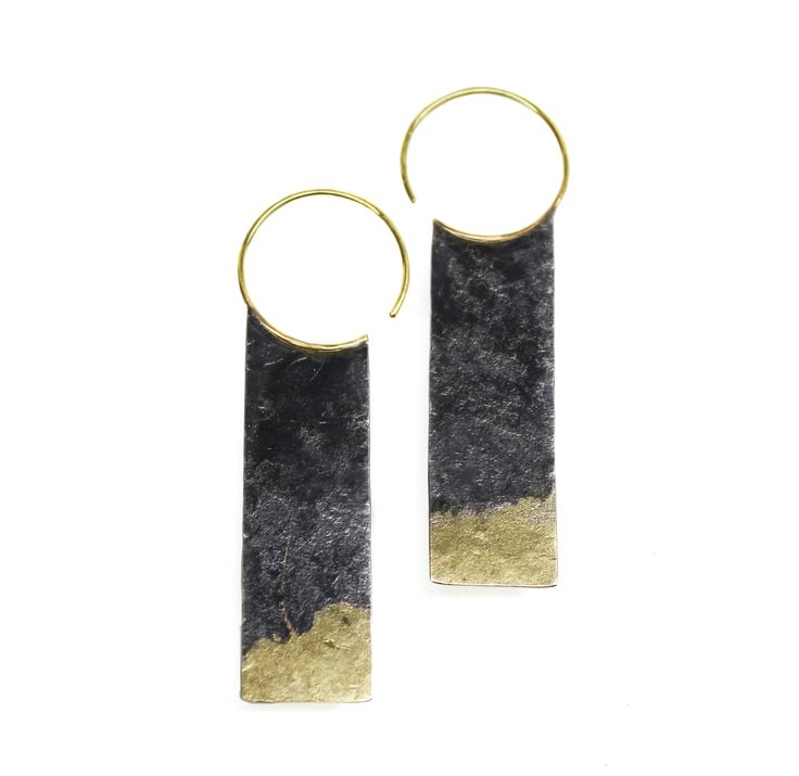 Oxidized Sterling earrings with fused 18k Recycled Gold. Solid 18k earwires.SOPHIE HUGHES -USA