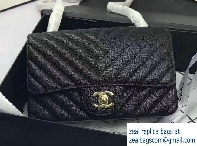 440181a50510 Chanel Caviar Leather Chevron Classic Flap Small Bag A1116 Black/Gold 2017