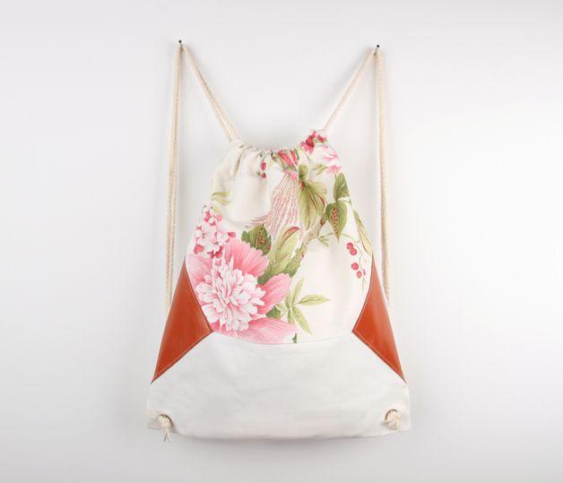 Turnbeutel - Turnbeutel Emilia / Lederapplikation / Blumen - ein Designerstück von Eulenschnitt bei DaWanda