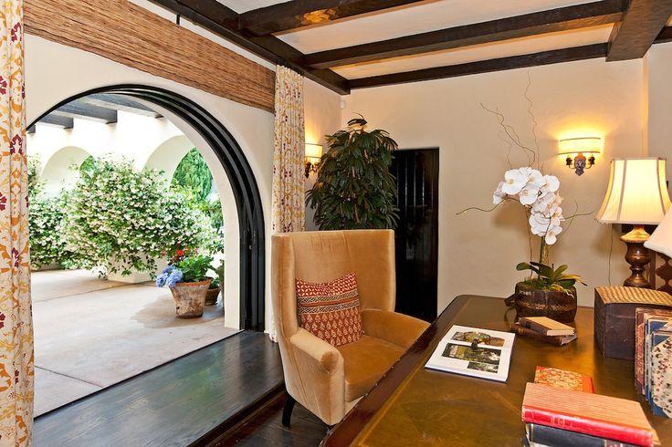 Courtyard--window treatments for door are interesting