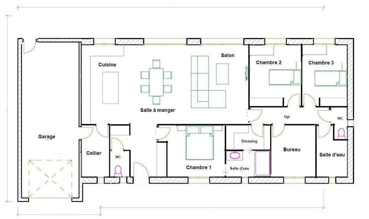 jocelyne delgado (mamiejoce) on Pinterest - plan de maison de 100m2 plein pied