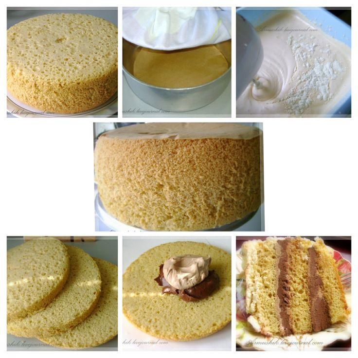 [Untitled] Высокий, нежный бисквит для торта (на плите)  Ингредиенты: Для теста: -12 яиц -2 ст. сахара -2 ст. муки -1-2 ч.л. ванильного сахара Для пропитки: -0,5 ст. воды -2 ст. л. сахара -1ст. л. коньяка (по желанию)  Бисквит печется на плите и в алюминиевой кастрюле!  Нельзя ставить кастрюлю на прямой огонь,лучше положить на предварительно разогретый толстый железный лист или побольше диаметром чугунную сковородку и убавить огонь до маленького.  На плите у меня 6 позиций ( плита у меня…