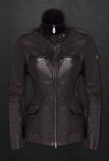 Peuterey donna, giacca di pelle nera Demuul