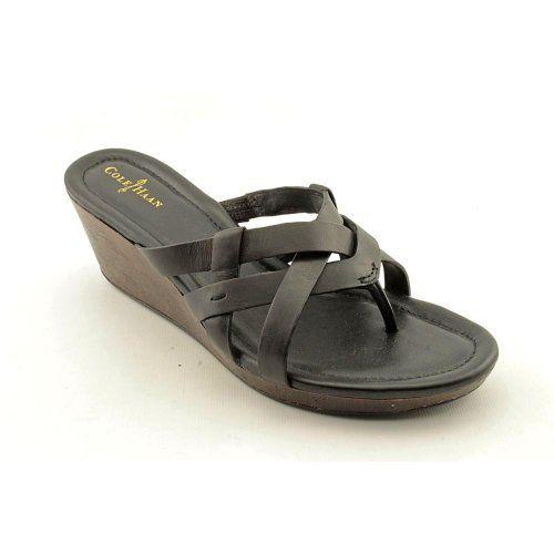 Cole Haan Bonnie Womens Size 10 Black Leather Thongs Sandals Shoes