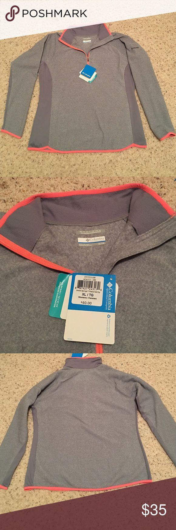 Women's Columbia zip up xl Women's Columbia fleece zip up, grey and neon orange in color, never been worn. Columbia Tops Sweatshirts & Hoodies