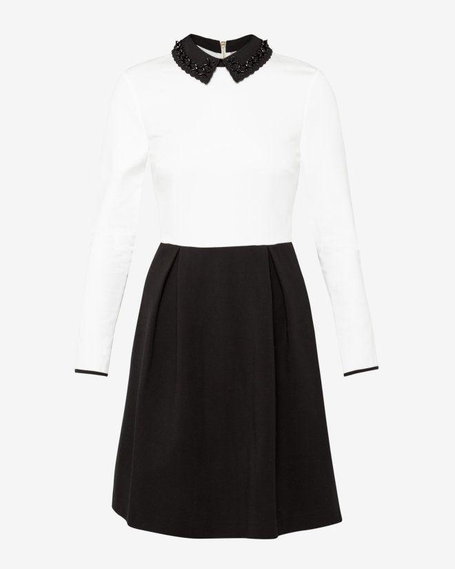 Embellished collar dress - Black | Dresses | Ted Baker