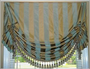 This is an EASY swag window treatments idea! If you can sew a straight line, thread a needle, use a staple gun and drill, then you can make this curtain!