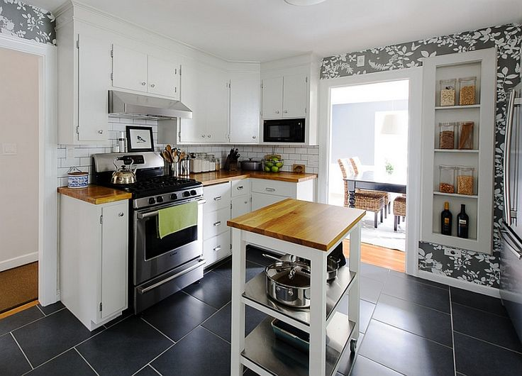A perfect rolling island for the small space-conscious kitchen