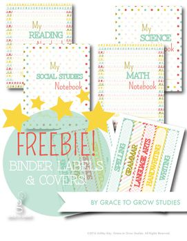 A fun freebie for your classroom and homeschool use! I created these colorful binder labels and covers for 2 binders. Subjects include:-reading-math-science-social studies-art-spelling-grammar-language arts-handwriting-writingThere is a page of 5 spine labels for each subject, and an 8.5x11 binder cover for each subject in two designs: doodles and polka-dots.