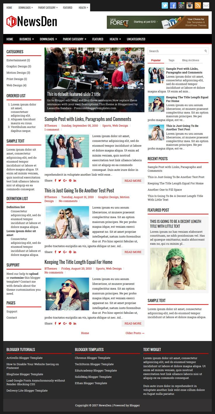 NewsDen Blogger Template:  NewsDen is a Responsive, 3 Columns Blogger Template for News Blogs. NewsDen Blogger Template has a Slider, 2 Dropdown Menus, Header Banner Widget, Related Posts, Breadcrumb, Social and Share Buttons, Left and Right Sidebars, 3 Columns Footer, Google Fonts, Tabbed Widget and More Features.  https://www.premiumbloggertemplates.com/newsden-blogger-template/